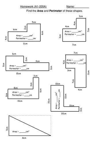 perimeter and area worksheets ks3 maths homework area and perimeter of compound shapes by djgunn teaching resources tes