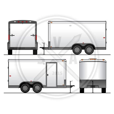Trailer Templates vehicle wrap template archives stock vector