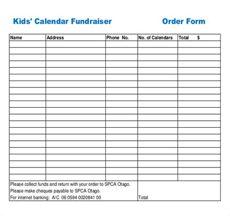 template for fundraiser printable order form cake order forms product details