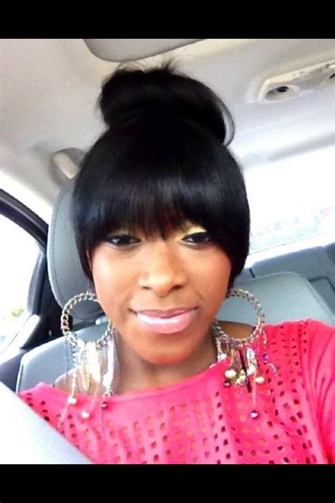 how to do a swoop bang on african american hair bun and bangs hair slayed honey pinterest bangs