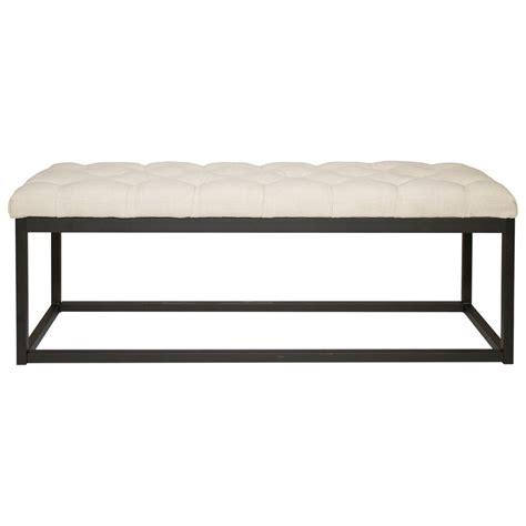 small metal bench diamond sofa mateo mateobessd black powder coat metal small linen tufted bench del