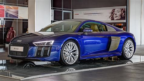 2016 audi r8 v10 gets santorini blue paint and brown leather autoevolution