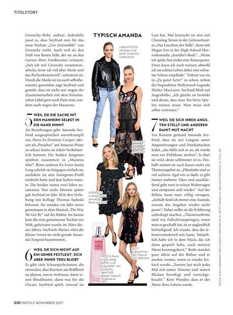 amanda seyfried german amanda seyfried instyle magazine germany issue november
