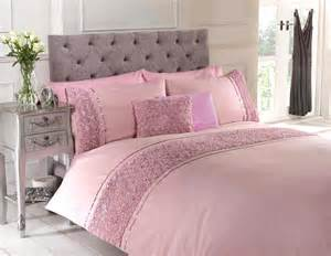dusky pink raised duvet quilt cover bed set bedding 4