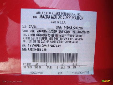 2004 mazda mazda6 s hatchback color code photos gtcarlot