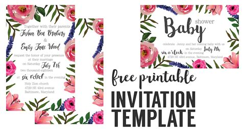 printable paper invitations free floral invitation free printable invitation templates