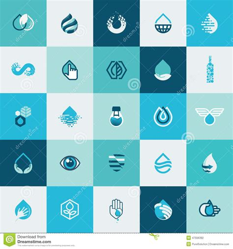 design service icon vector set of flat design icons for water and nature stock vector