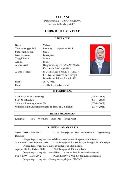 cara membuat cv indonesia contoh cv dan surat lamaran kerja yang baik dan benar