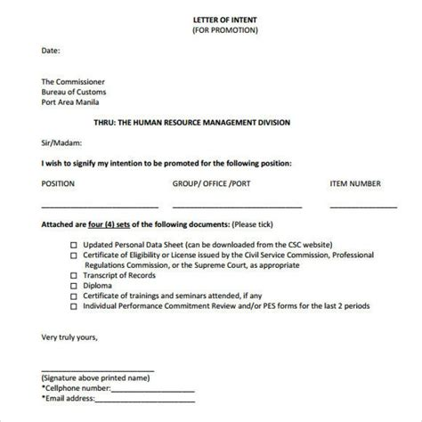 Letter Of Intent Promotion Exle Proper Letter Of Intent For Promotion Letter Format Writing