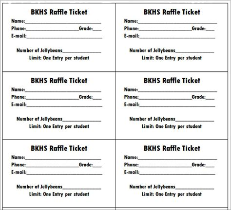 10 best images of printable raffle ticket templates free
