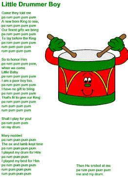 printable lyrics for the little drummer boy little drummer boy lyrics