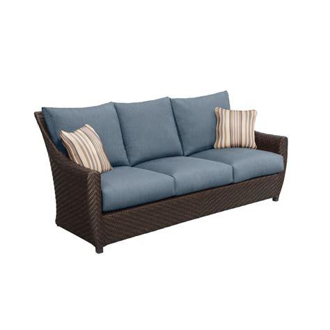 custom couch pillows brown jordan highland patio sofa with denim cushions and