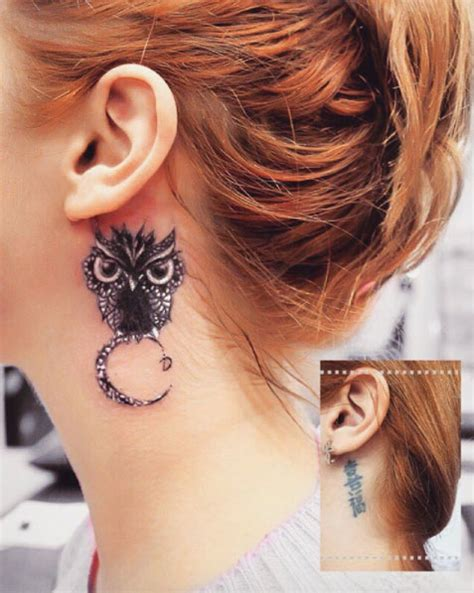 watercolor tattoo behind ear 60 owl tattoo design ideas with watercolor dotwork and