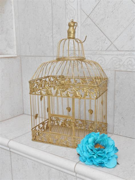 large gold wedding birdcage card holder wedding card