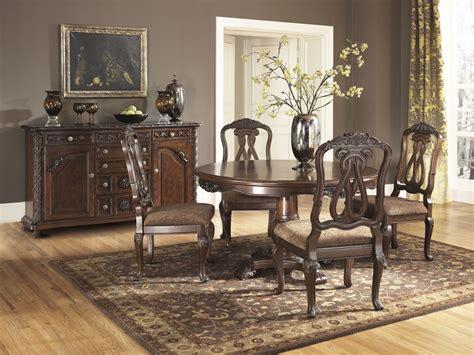 north shore  pedestal dining room set ashley furniture   dining room furniture