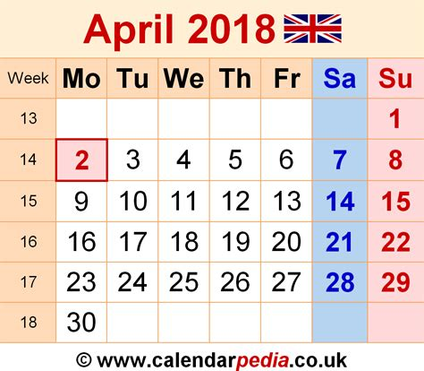 Calendar April 2018 Calendar April 2018 Uk Bank Holidays Excel Pdf Word
