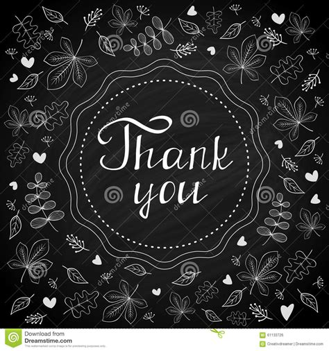 thank you note on chalk board with botanical background