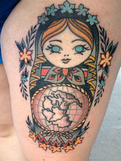 old world map tattoo russian nesting doll with pangea