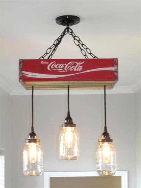 Coca Cola Light Fixture with Recycled Coca Cola Woodcase Chandelier Id Lights