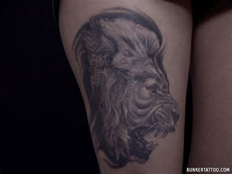 realistic lion tattoo realistic bunker quality tattoos