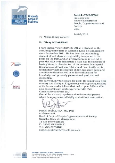 Recommendation Letter For Master Student From Professor Recommendation Letter From Professor Of Economics