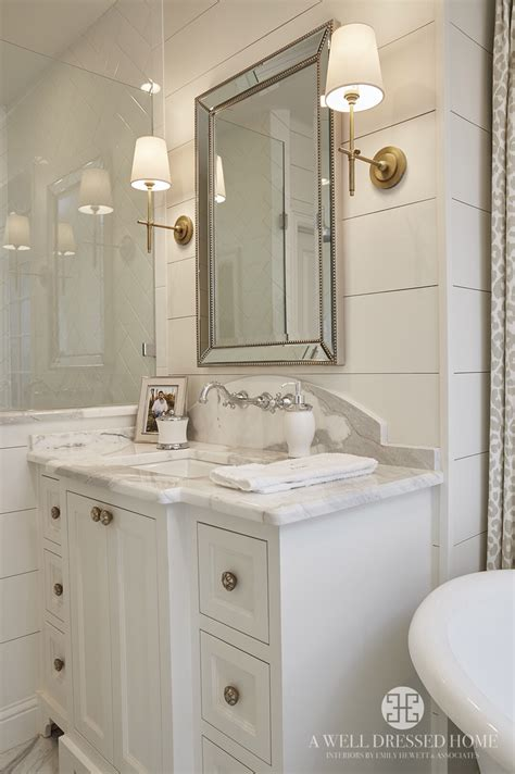 bathroom mirror sconces ship lap walls painted white dove by benjamin moore new
