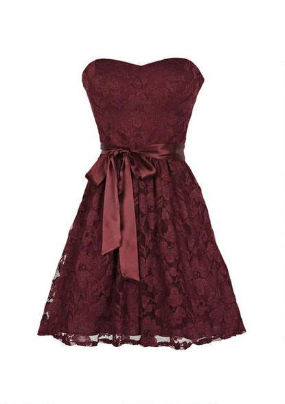 Dress Front Ribbon Maroon A15457gn strapless burgundy lace dress with ribbon belt it would be better perhaps if it were longer
