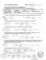 Unit Conversions And Factor Label Method Worksheet Answers by Factor Label Method Worksheet Lesupercoin Printables