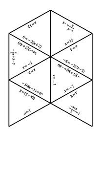 solving equations tarsia puzzle  jennifer merker tpt
