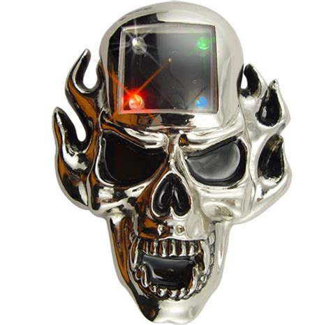 mp scull human skull mp3 player belt buckle with leds