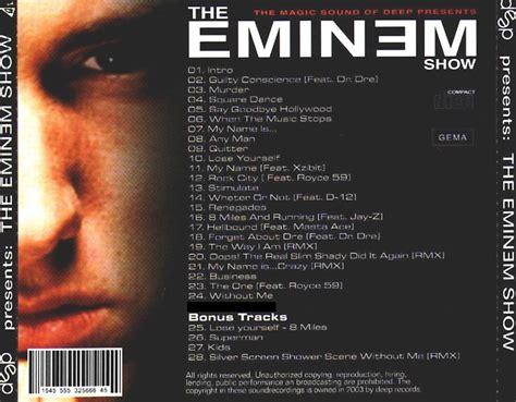 eminem dvd copertina cd eminem deep presents the eminem show back