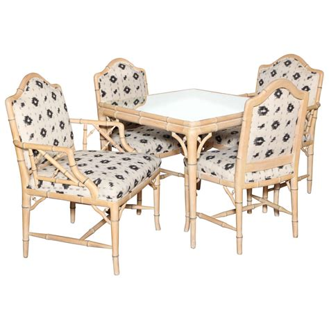 Card Tables With Chairs by Carved And Painted Faux Bamboo Card Table And Four