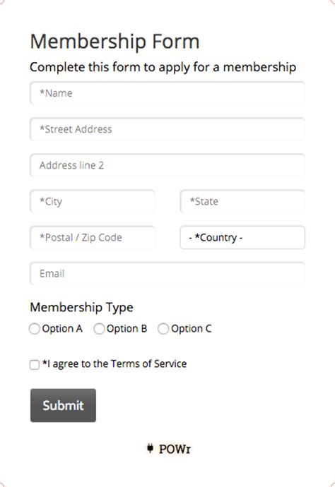 image gallery membership form
