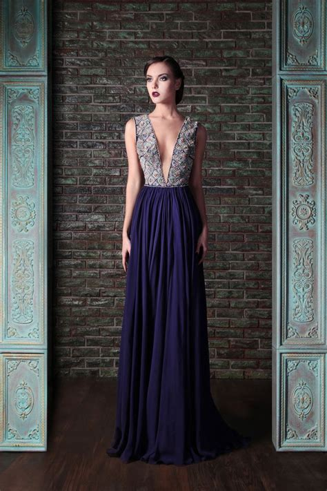 900809 By Nadya Gamis Rami Embroidered Silk Crepe Georgette Couture Dress Rami
