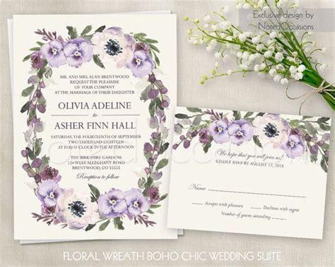 wedding invitations lavender flower floral wedding invitation printable suite boho wedding