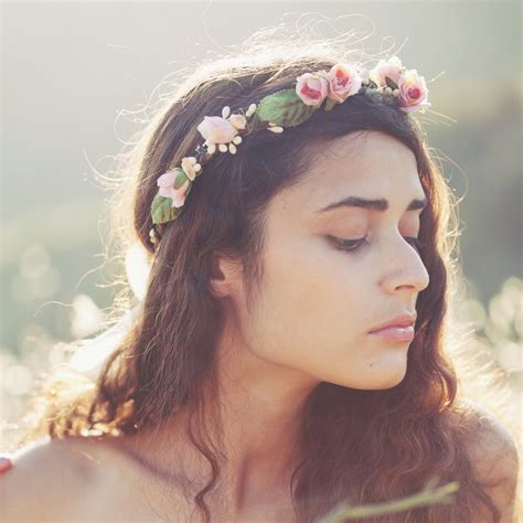 bridal flower crown pink floral wreath flower crown boho