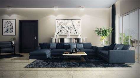 modern blue living room