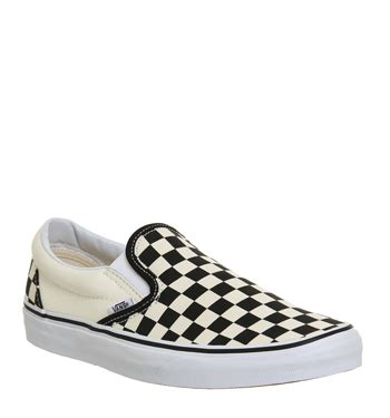 mens vans classic slip on shoes black white check trainers