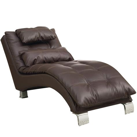 faux leather chaise coaster faux leather chaise in brown 550076