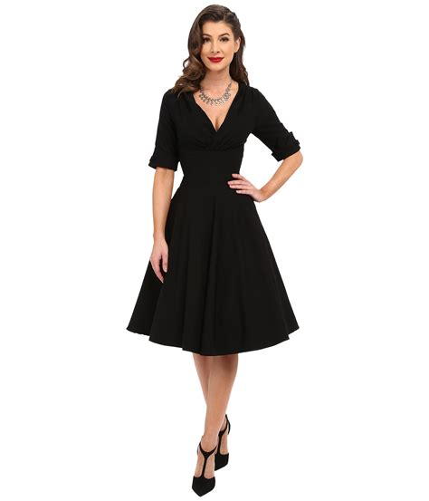 Black Retro Pattern Dress 25669 unique vintage 3 4 sleeve delores swing dress at zappos