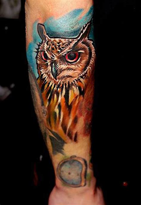 awesome traditional owl arm tattoos