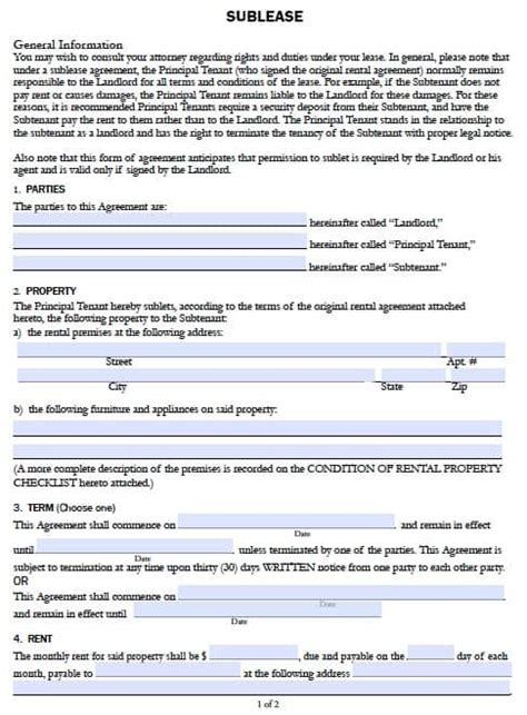 Free California Sublease Agreement Form Pdf Template Rental Agreement Template California