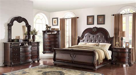 buy crown mark crown mark  stanley panel bedroom set  pcs  brown cherry faux leather