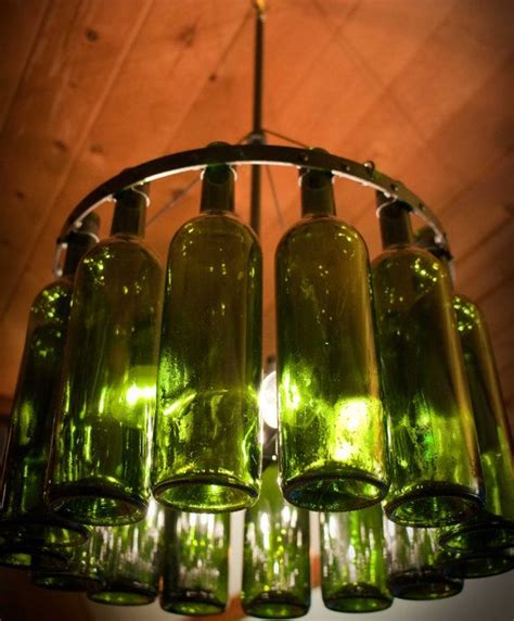 Recycled Wine Bottle Chandelier Gorgeous Recycled Wine Bottle Chandelier Black Wrought Iron Texture With Emerald Green Bottles
