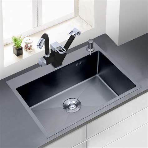 Stainless Steel Countertop With Sink by 304 Stainless Steel Black Thickened Brushed Manual Sink