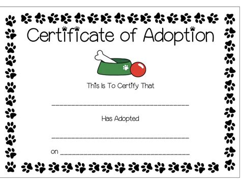 pet adoption certificate template best sles templates
