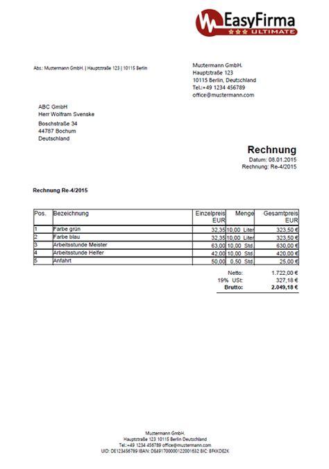 Rechnung Aus Schweiz Nach Deutschland Rechnungsvorlagen Muster Beispiele Information