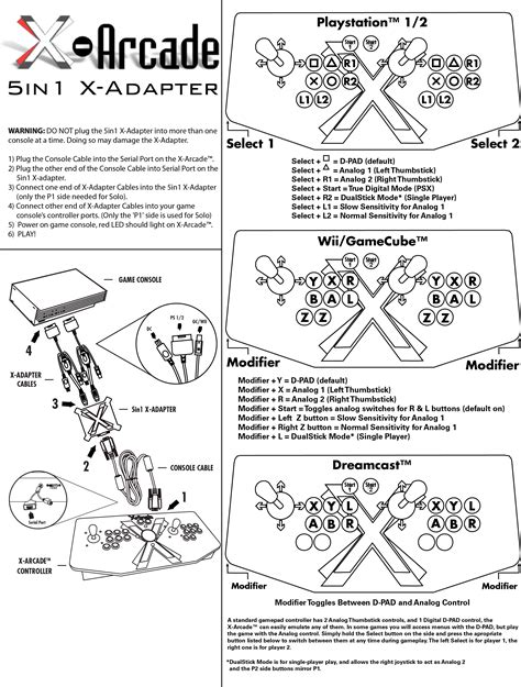 game instructions layout support 5in1 x adapter help instructions