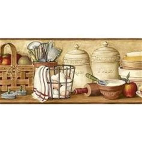 country kitchen wallpaper border primitive vintage and collectibles on a kitchen shelf wallpaper border