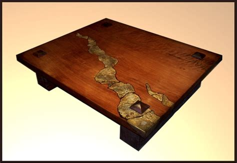 Custom Made Redwood Table With Stone Inlay by Hamari Design   CustomMade.com